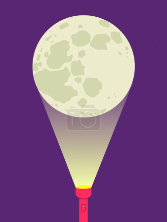 Illustration for Illustration of a flashlight and moon - Royalty Free Image