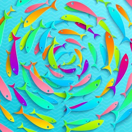 Illustration pour Illustration d'un banc de poissons tropicaux - image libre de droit