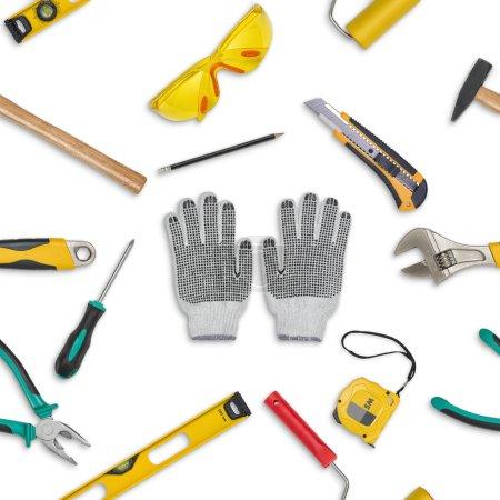 Photo pour Ensemble d'outils de construction isolés sur un fond blanc - image libre de droit