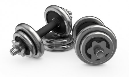 Fitness and sports equipment. Metal dumbbells with...