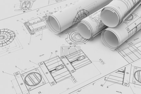 Roll and flat technical drawings