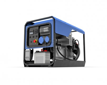 Photo pour Illustration tridimensionnelle du générateur d'essence portatif isolé sur fond blanc - image libre de droit