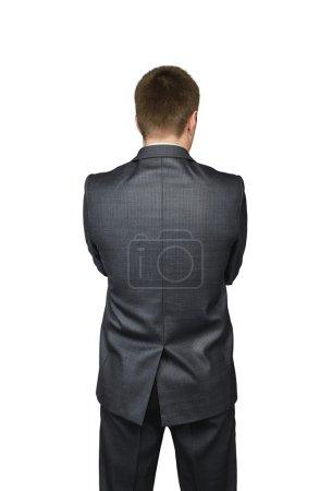 Photo pour Hommes d'affaires de retour dans un procès d'isolement sur le fond blanc. Concept financier - image libre de droit