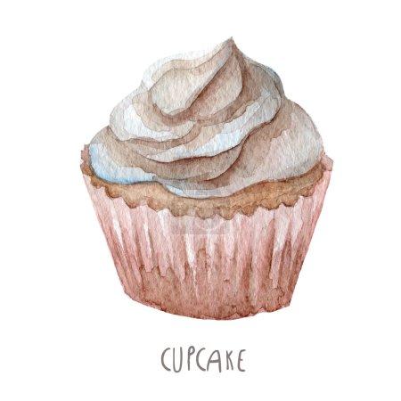 Watercolor hand drawn cupcake
