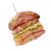 Vector watercolor burger It can be used for card poster sticker menu recipe