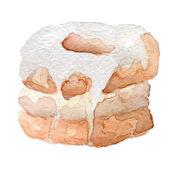 watercolor cronut croissant and doughnut mixture vector art