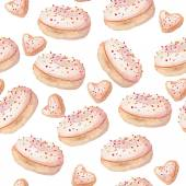 watercolor donut seamless sweets pattern