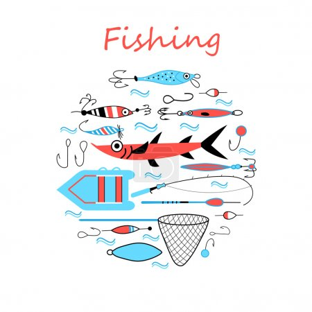 Illustration for Collection of various fishing gear, made in a modern style vector lines. Float, fishing tackle, floating, rod, boat and gear of another fisherman. Vector collection of fishing tackle - Royalty Free Image
