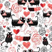 """Постер, картина, фотообои """"Графическая модель любителей смешные кошки"""""""