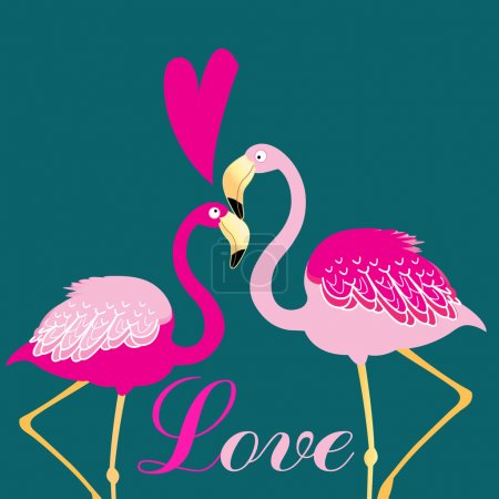 Illustration for Beautiful vector illustration of love birds flamingos - Royalty Free Image