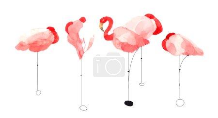 beautiful watercolor flamingos
