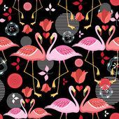 beautiful pattern lovers flamingos