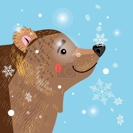 Illustration pour Illustration vectorielle d'un ours brun parmi les flocons de neige - image libre de droit
