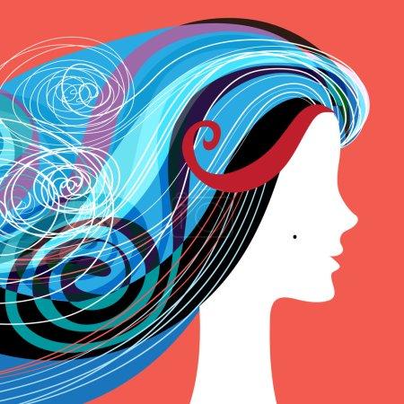 Illustration pour Silhouette femme avec cheveux bouclés sur bannières pour salon de coiffure - image libre de droit