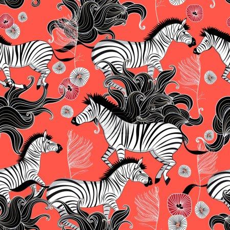 pattern of running zebras