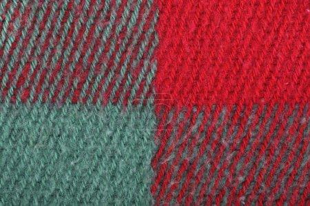 Photo pour Rouge, vert texture de laine à carreaux colorés, fond - image libre de droit