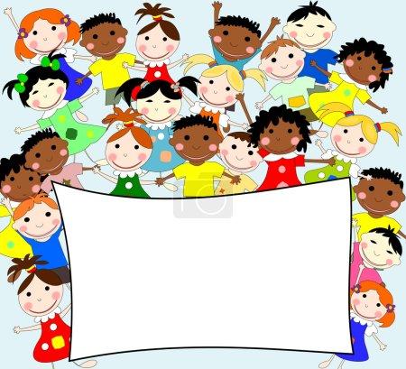 Photo pour Illustration d'enfants de races différentes derrière une bannière sur fond bleu - image libre de droit