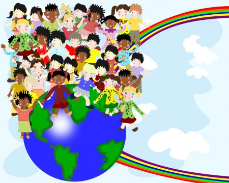 Group of happy children of different nationalities in the world
