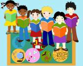 Children of different races with books in hands near a school bo