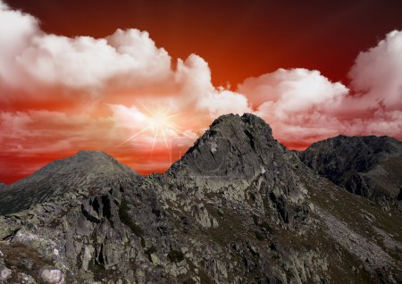 Photo for Beautiful red sky over the mountains - Royalty Free Image