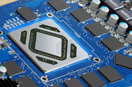 Photo for Futuristic microprocessor and electronic components - Royalty Free Image
