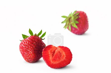 Photo for Organic strawberry isolated on white background - Royalty Free Image