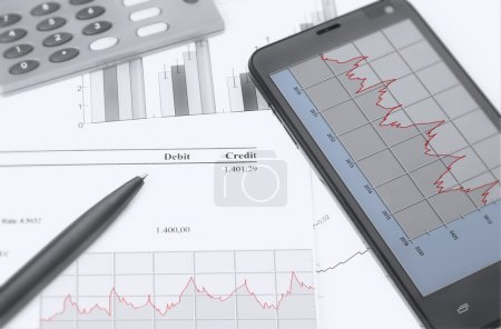 Photo for Financial chart analysis, rate calculation - Royalty Free Image