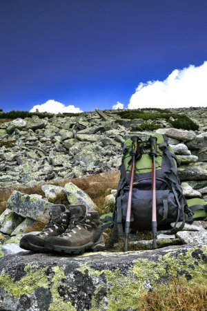 Photo for Hiking equipment,trekking poles, backpack and boots - Royalty Free Image