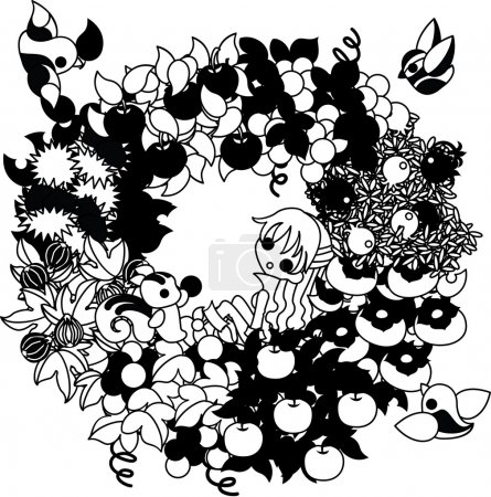 Illustration pour Pommes et châtaignes et figues et raisins et muscat et poires et kaki, grenades.... il y a tellement de fruits d'automne . - image libre de droit