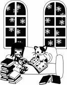 Reading books with a cat