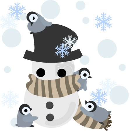 Penguins and a snowman