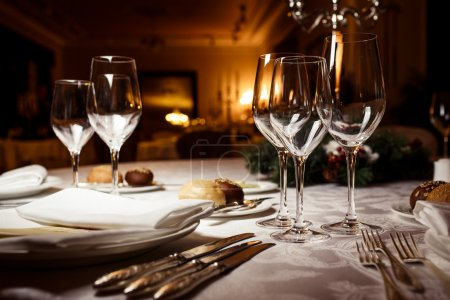 Photo for Empty glasses in restaurant. Table setting for celebration - Royalty Free Image