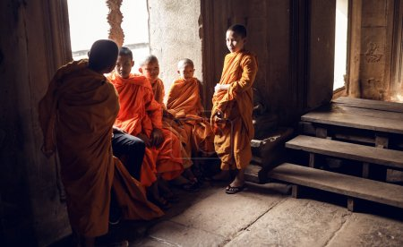 Unidentified Buddhist monks in Angkor Wat complex