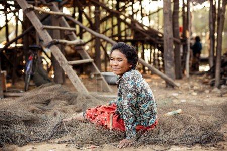 Portrait of an unidentified Khmer girl on Tonle Sap Lake in Kampong Phluk