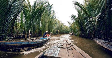 Rowing a boat in Vietnam
