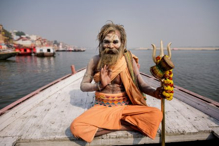 Portrait of Indian monk in Varanasi, India