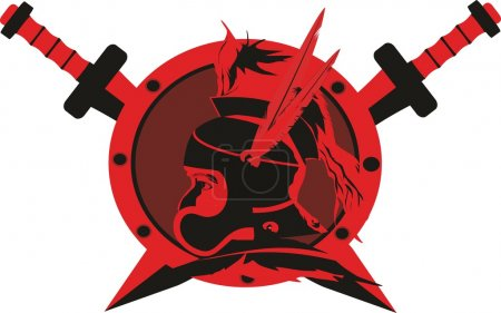 Macedonian warrior's head vector logo illustration isolated on white