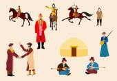 Kazakh people in natrional ethnic dress vector icons set