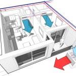 Perspective cut away diagram of a one bedroom apar...