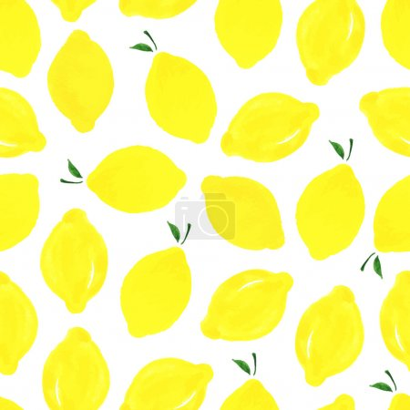 Illustration for Watercolor seamless pattern with lemons on the white background. Vector illustration. Hand drawn background. - Royalty Free Image