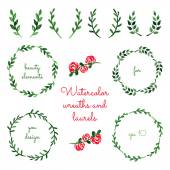 Set of watercolor wreaths and laurels