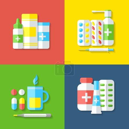 Photo pour Médicaments. Pilules, vitamines, capsules, boissons chaudes, thermomètre - premiers soins pour le rhume. Maladie et traitement. Une formation médicale. Illustration vectorielle . - image libre de droit