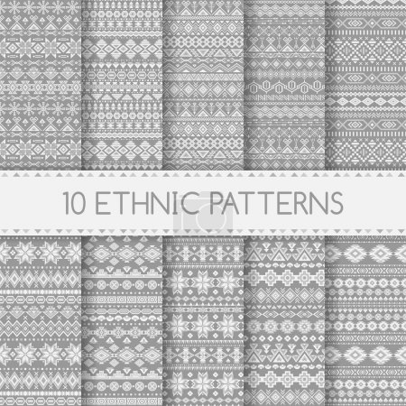 Illustration for Set of ethnic seamless patterns. Aztec gray striped geometric backgrounds. Tribal, ethnic, navajo prints. Modern abstract wallpapers. Vector illustration. Swatches of seamless patterns included in the file. - Royalty Free Image