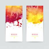 Set of two colorful business cards templates Banners with handpainted watercolor splashes Greeting cards invitations flyers Vector illustration