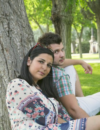 A young married couple on vacation in the Park...