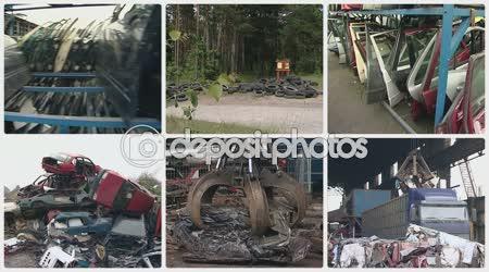Car body and machine equipment handle metal scrap. Collage