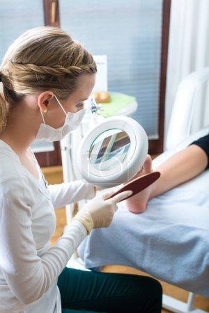 Woman  receiving pedicure