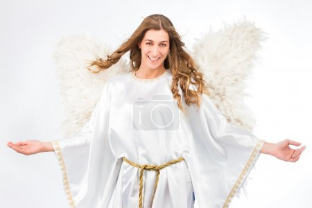 Photo pour Woman in angel costume with artificial feather wings isolated on white background spirituality purity dreams religion - image libre de droit