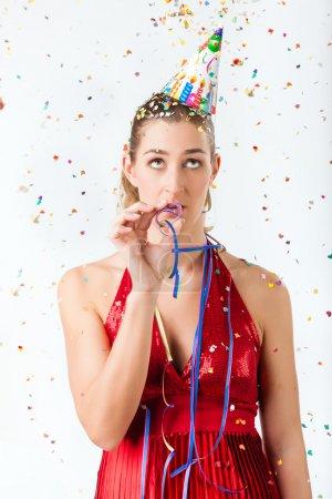 Woman at boring birthday party