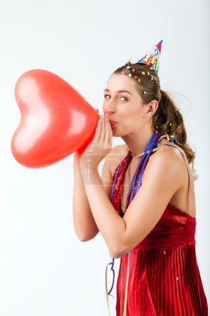 Woman celebrating birthday or valentines day